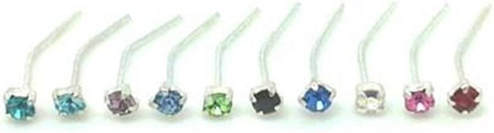 4 x Sterling Silver CZ Clear Gem Clawset Nose Studs Piercing Body Jewellery