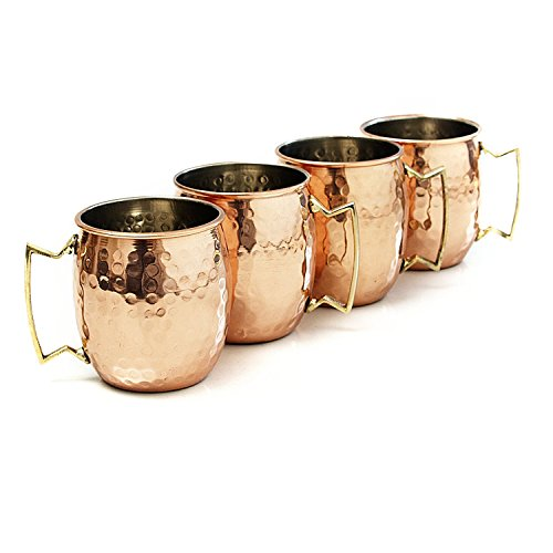 Moscow Mule Hammered Copper 18 Ounce Drinking Mug, Set of - Summer Mall Set