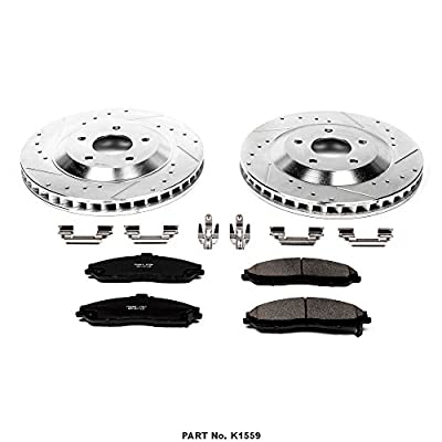 Power Stop K1559 Front Brake Kit with Drilled/Slotted Brake Rotors and Z23 Evolution Ceramic Brake Pads: Automotive