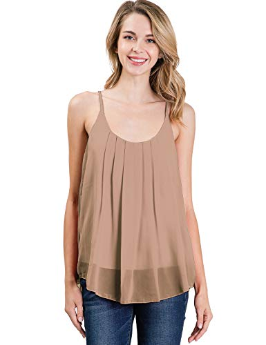 CLOVERY Women's Sleeveless Pleated Chiffon Layered Cami Tank Top Blouse with Plus Size Lightmocha XL