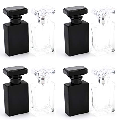 Foraineam 8-Pack 30ml Portable Refillable Perfume Bottle, Square Empty Glass Perfume Atomizer Bottle with Spray Applicator, Transparent and Black Assorted