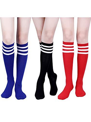 Tatuo 3 Pairs Classic Triple Stripe Socks Women Knee Thigh High Socks Soft Cotton Tube Socks for Costume, 3 Colors (Color Set -