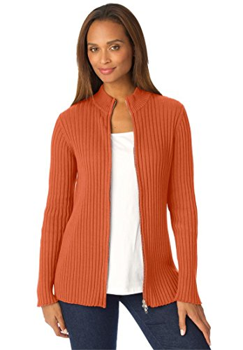 Ribbed Cotton Cardigan With Zip Front – 22-24, Deep Orange