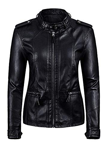 Artfasion Women's Slim Tailoring Faux Leather PU Short Jacket Coat US Size (Black-98, S) (Womens Maroon Leather Jacket)