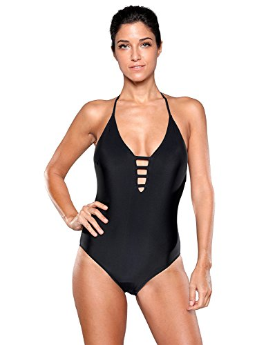 Women's Black Halter Cutout Plunging V Neck One Piece Swimsuit Sexy Backless Swimwear Size M US - 8 Figure Sunglasses
