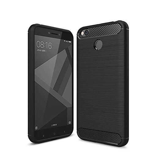Merssavo Gris Cubierta de la Caja del Gel de la Fibra del Carbón Cepillada para Xiaomi Redmi 4X negro