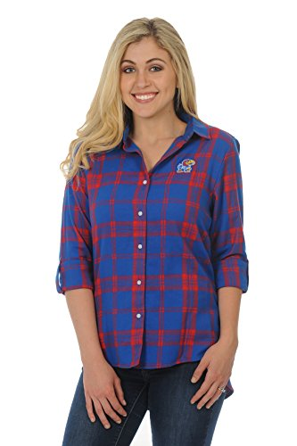 - UG Apparel NCAA Kansas Jayhawks Women's Boyfriend Plaid Roll Up Sleeve Shirt, Royal Blue/Red, Small