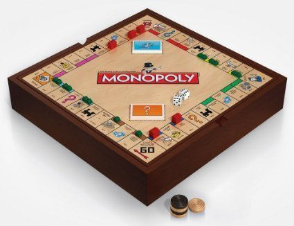 Monopoly 5-in-1 Deluxe Edition - Wooden Game Board with Chess and Checkers (Monopoly Wood)