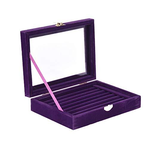 Onegirl Jewelry Organizer Velvet Glass Jewelry Ring Display Organizer Case Tray Holder Earring Storage Box (Purple) from Onegirl