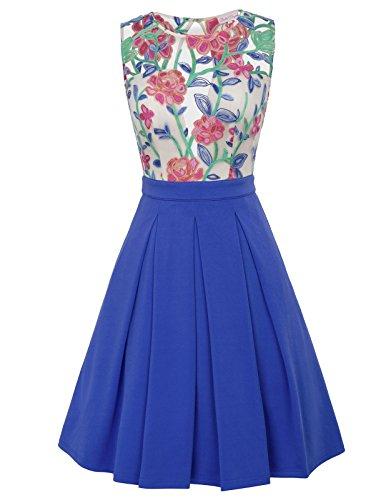 Bella Blue Dresses (Belle Poque Colorblock Vintage Dress Royal Blue A Line Dress S BP459-2)