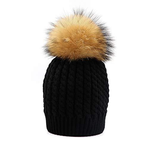 3eecc383d436 Winter Bobble Hat Knitted Pom Pom Cap Kids Beanie Hat Unisex Kids Faux  Raccoon Fur Ball