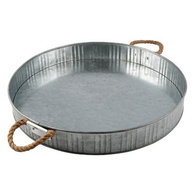 Thirstystone Industrial Luxe Serving Tray, One Size, Silver (Tray Metal Round)