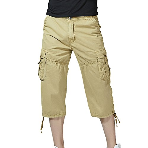 Knee Short (PIZZ ANNU Men's Cargo Shorts Casual Combat Knee-Length Capri Outdoor Shorts Pants(Khaki-40))