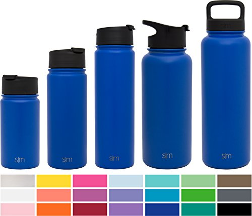 Simple Modern 32oz Vacuum Insulated Stainless Steel Water Bottle - Summit Wide Mouth Thermos Travel Mug - Double Walled Flask - Powder Coated Hydro Canteen - Twilight Blue