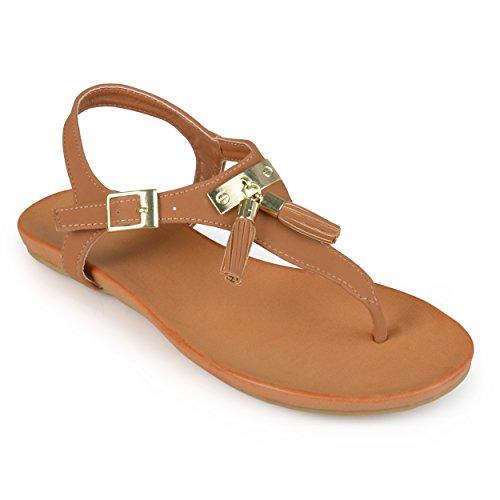 Brinley Co. Womens T-strap Tassled Sandals Chestnut 6.5 M US