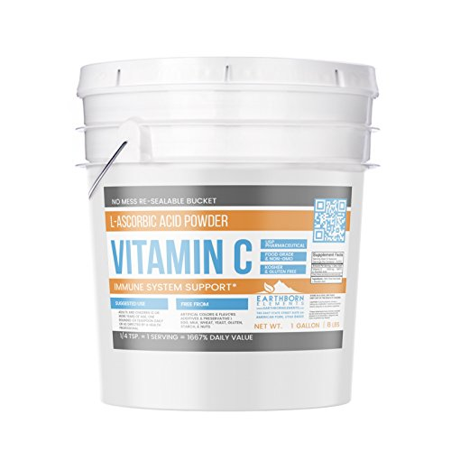 Vitamin C Powder (L-Ascorbic Acid) (1 Gallon (8 lb.)) by Earthborn Elements, Resealable Bucket, Antioxidant, Boost Immune System, DIY Skin Care, Satisfaction Guaranteed