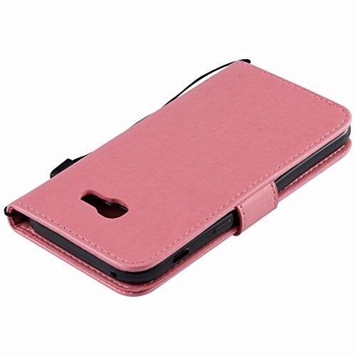 Yiizy Samsung Galaxy A5 (2017) Custodia Cover, Alberi Disegno Design Sottile Flip Portafoglio PU Pelle Cuoio Copertura Shell Case Slot Schede Cavalletto Stile Libro Bumper Protettivo Borsa (Rosa)