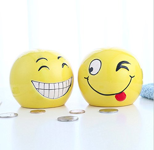 Miss.AJ Yellow Smile Face Funny Dolls Money Box Home Dec Coin Piggy Bank Ornament Yellow Smiley Happy Face Smile Man Piggy Bank Coin Bank