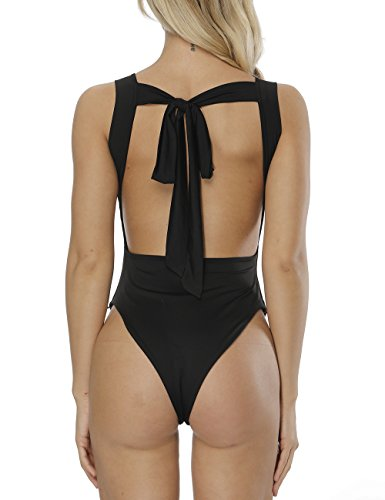 Cuihur Women's Summer Sleeveless Bodysuit Backless Stretchy Jumpsuits Rompers L Black by Cuihur (Image #2)