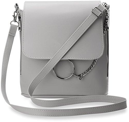 7a5cbda941c7b modische Schultertasche mit Klappe Damen – Tasche mit Verzierungen grau
