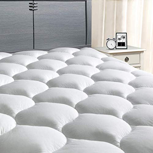 "MASVIS California King Mattress Pad Cover 8-21""Deep Pocket - Cooling Mattress Topper Overfilled 300TC Snow Down Alternative"