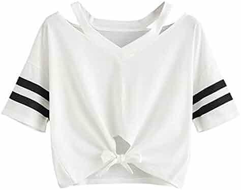 0522b53842e28 Women Teen Girls Striped Cute Crop Top Raglan Short Sleeve Belly Shirt  Baseball Summer Tee T