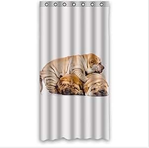 Animals Dogs Three Shar Pei Dogs Are Sleeping On Each Other Design,Shar Pei Dog Custom Shower Curtain 36 x 72
