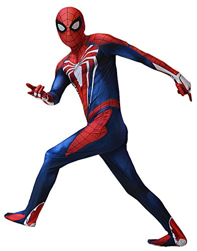 ourworth Insomniac PS4 Spiderman Costume PS4 Spider-Man Suit for Kids and Adults Cosplay Insomniac PS4 Spider-Man Movie Best Halloween Costume (X-Large), Red and Blue