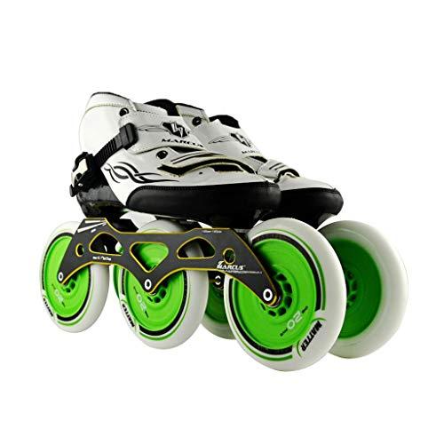 売り手盲目ジャムailj スピードスケート靴3 * 125MM調整可能なインラインスケート、ストレートスケート靴(4色) (色 : Green, サイズ さいず : EU 39/US 7/UK 6/JP 24.5cm)