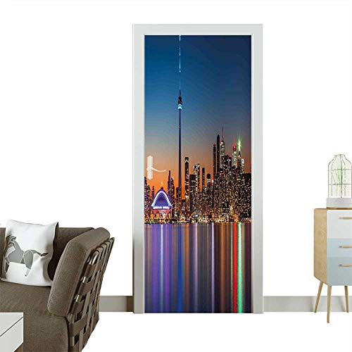Art Door Stickers Theme A Cityscape View of Toronto and The Skyscrapers at Dusk Digital Print Door Decals for Home Room DecorationW23 x H70 INCH -