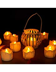 Flameless LED Tealight,Pack of 12,Long-Lasting LED Candle with Remote Control,Battery Operated Dripping Wax Look LED Candlefor Halloween,Wedding,Christmas,Thanksgiving,Home Decor(Yellow Flickering)