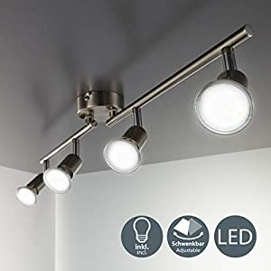 B.K.Licht LED Ceiling Spotlight Bar with 4x 3W GU10 bulbs included and rotatable and swivel design, brushed nickel