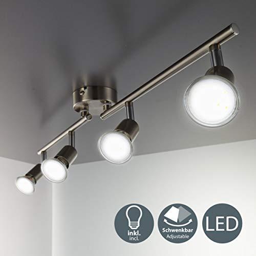 B.K.Licht - Lampara de techo con 4 focos LED GU10, focos ajustables y giratorios para interiores, de luz blanca calida, 3W y 250 lumenes, 3000K, forma recta en barra, color niquel mate