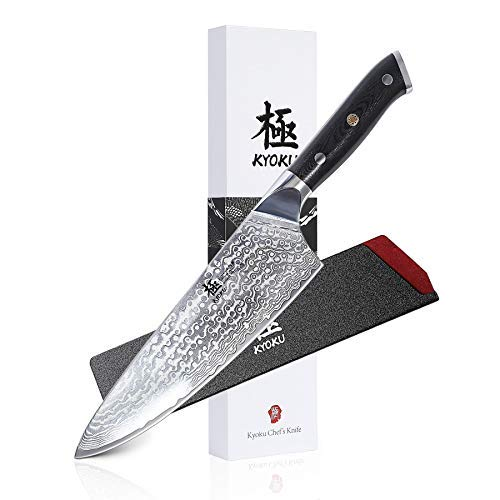 KYOKU Daimyo Series - 7-Inch Santoku Chef Knife with Sheath Case - Japanese VG10 Steel Core 67-Layer Forged Damascus Blade - Full Tang - G10 Handle with Mosaic Pin