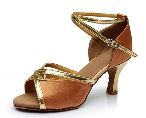 baile Zapatillas tacón Zapatos 34 Brown Zapatillas de verano moderna de XW mujer para latino para de 40 de mujer de alto mujer baile WX baile de tFnwp