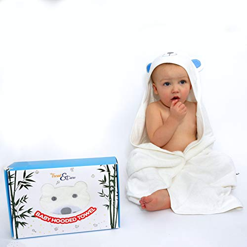 "Treat&Care Baby Hooded Towel for Boy and Girl -100% Organic Bamboo Baby Towel, Large Baby Bath Towel for Infants to Toddlers (35""x35"") - Soft and Absorbent Baby Hooded Towel - Suitable as Baby Gifts"