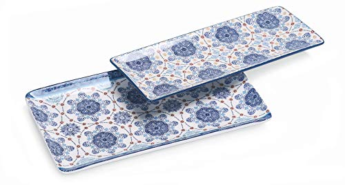 Bico Blue Talavera Ceramic 14 inches Rectangular Serving Platter, Set of 2, for Serving Salad, Pasta, Cheese, Ham, Appetizer, Microwave & Dishwasher Safe, House Warming Birthday Anniversary Gift
