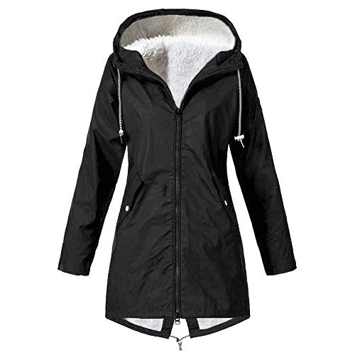 Outdoor Waterproof Raincoat Plus Velvet,Women Hoodie Solid Plus Size Drawstring Windproof Rain Jacket
