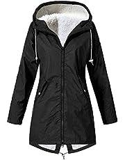 Darringls Regenjas voor dames, lang, overgangsjas, warm gevoerd, windbrekers, dikke softshelljas, past lange trui, duurzame mantel, winterjas, parka