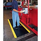 Crown CD0035YB Industrial Deck Plate Anti-Fatigue Mat, Vinyl, 36 x 60, Black/Yellow Border