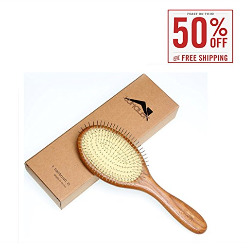 Wooden Hair Brush Comb with Airbag Stainless Pin , Improve Hair Growth Scalp Massage Comb for Women Men and All Types of Hair (9.84
