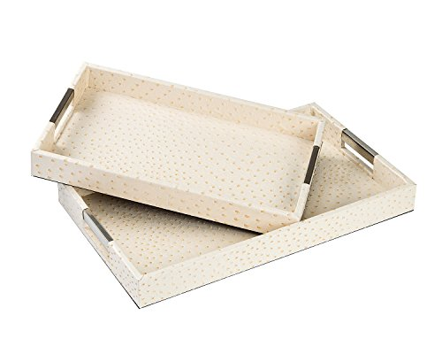 CC Wonderland Serving Tray with Handles, Ostrich skin Faux Leather, Set of 2, Rectangle - Cream, Decorative tray for Ottoman&Coffee Table (Coffee Faux Leather)