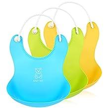 Itaar Baby Bibs Silicone Waterproof Food Catcher 3 PCS Roll-up Deep Pocket with Soft Adjustable Neckband