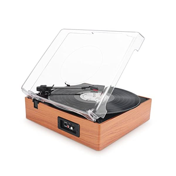 1byone Belt-Drive 3-Speed Stereo Turntable with Built in Speakers, Natural Wood 5