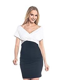 Happy Mama. Womens Maternity Nursing Wrap Dress Sleeveless V - Neckline. 569p