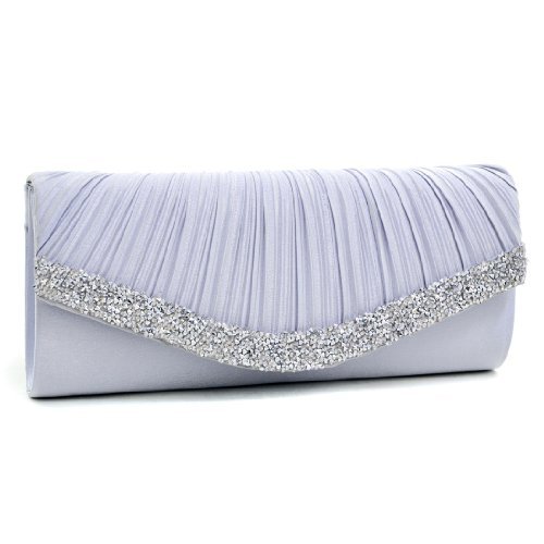 Dasein Women's Satin Pleated Rhinestone Accented Flap Clutch Evening Bag Purse w/Silver Chain Strap … ()