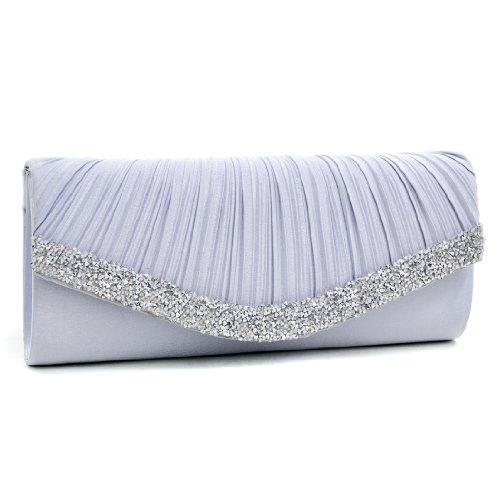 Dasein Women's Satin Pleated Rhinestone Accented Flap Clutch Evening Bag Purse w/Silver Chain Strap … (Silver)