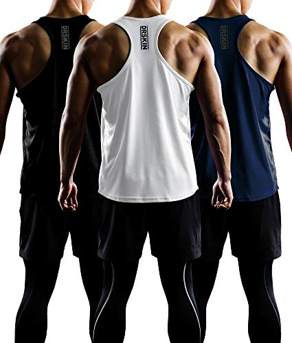 DRSKIN Men's 3 Pack Dry Fit Y-Back Gym Muscle Tank Mesh Sleeveless Top Fitness Training Cool Dry Athletic Workout (BTF-ME-TA-(B,W,N), M) (Cool Sleeveless Mesh)