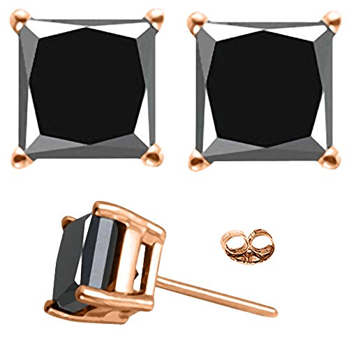1 Carat Total Weight Black Princess Diamond Solitaire Stud Earrings Pair set in 14K Rose Gold Popular Value Collection by Houston Diamond District