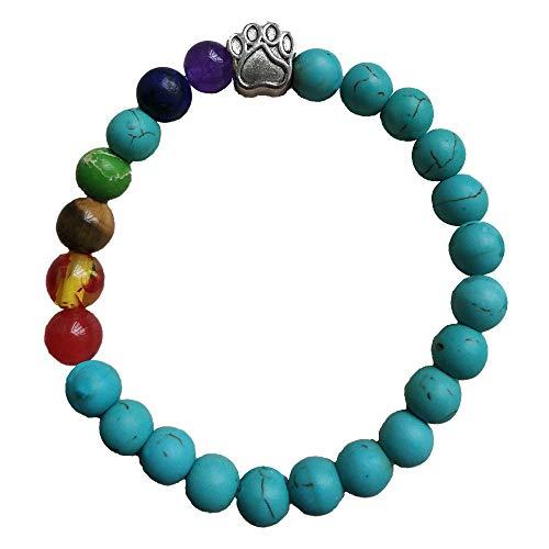 COZYMATE Pet Memorial Gift Rainbow Bridge Bracelet Agate Bead in Memory of Dogs Cats (Green) ()